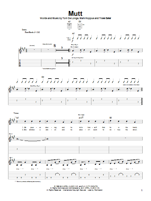 Tablature guitare Mutt de Blink-182 - Tablature Guitare