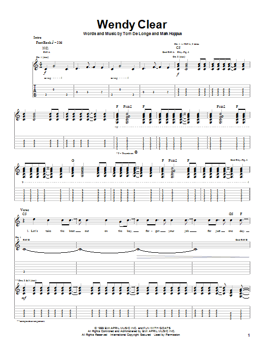 Tablature guitare Wendy Clear de Blink-182 - Tablature Guitare
