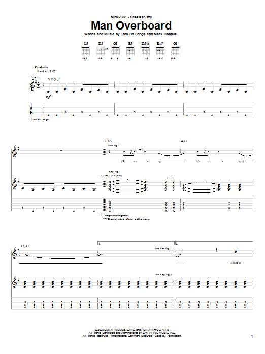 Tablature guitare Man Overboard de Blink-182 - Tablature Guitare