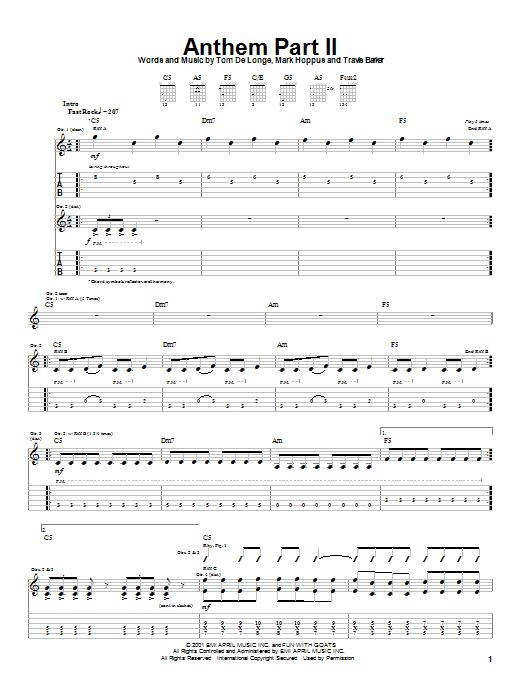 Tablature guitare Anthem Part II de Blink-182 - Tablature Guitare