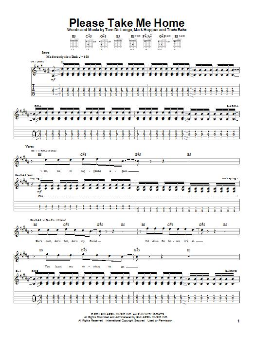 Tablature guitare Please Take Me Home de Blink-182 - Tablature Guitare