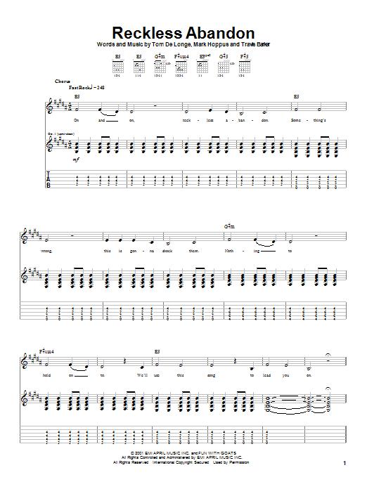 Tablature guitare Reckless Abandon de Blink-182 - Tablature Guitare