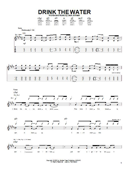 Tablature guitare Drink The Water de Jack Johnson - Tablature Guitare