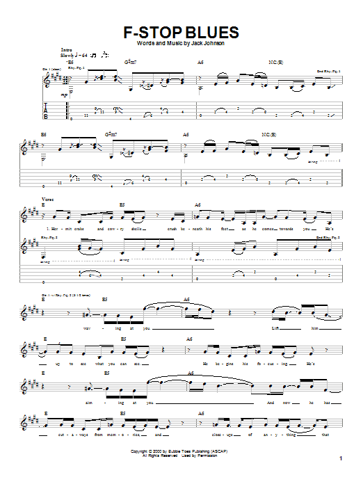 Tablature guitare F-Stop Blues de Jack Johnson - Tablature Guitare
