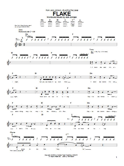 Tablature guitare Flake de Jack Johnson - Tablature Guitare
