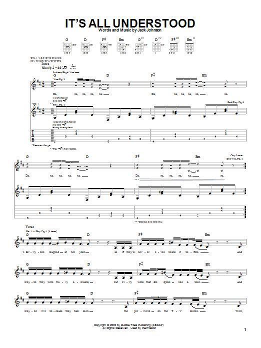 Tablature guitare It's All Understood de Jack Johnson - Tablature Guitare
