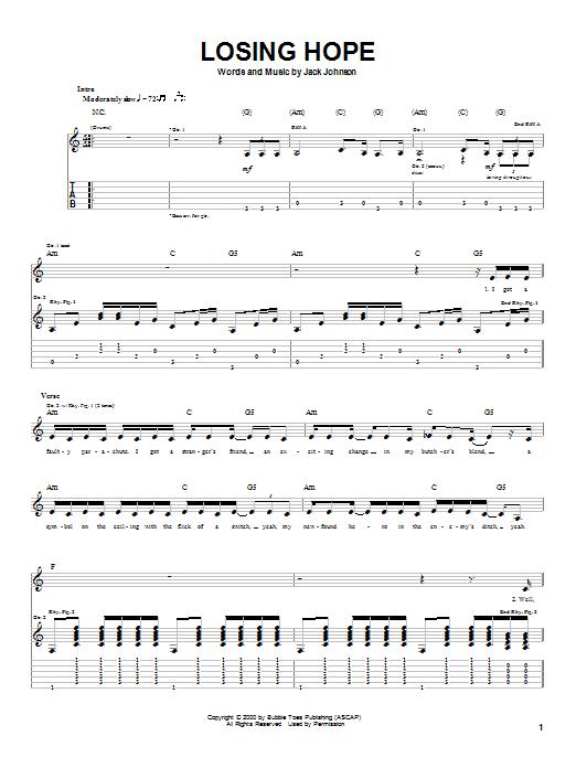 Tablature guitare Losing Hope de Jack Johnson - Tablature Guitare