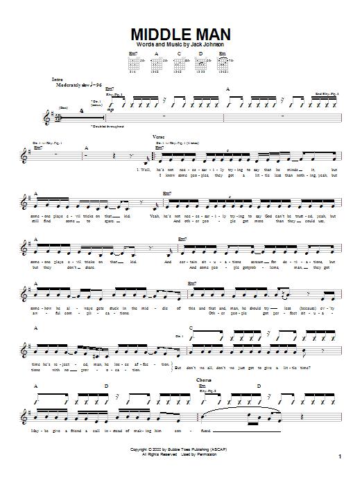 Tablature guitare Middle Man de Jack Johnson - Tablature Guitare