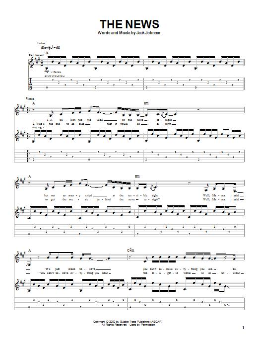 Tablature guitare The News de Jack Johnson - Tablature Guitare