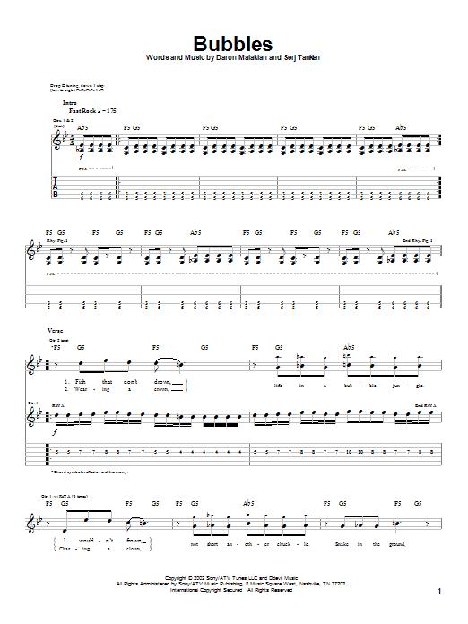 Tablature guitare Bubbles de System Of A Down - Tablature Guitare