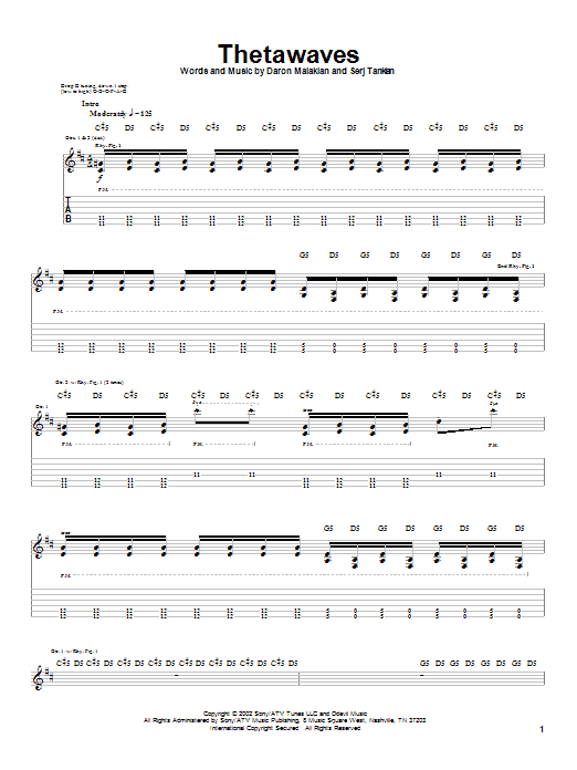 Tablature guitare Thetawaves de System Of A Down - Tablature Guitare