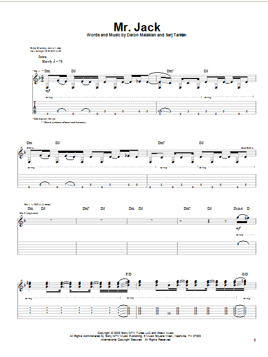 Tablature guitare Mr. Jack de System Of A Down - Tablature Guitare