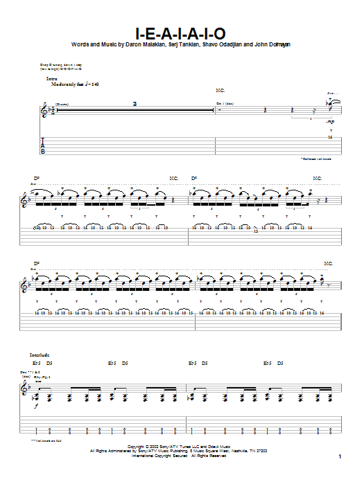 Tablature guitare I-E-A-I-A-I-O de System Of A Down - Tablature Guitare