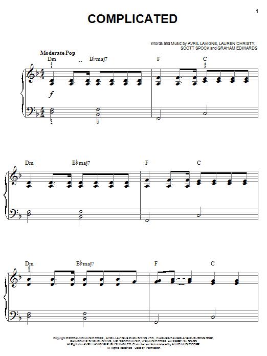Partition piano Complicated de Avril Lavigne - Piano Facile