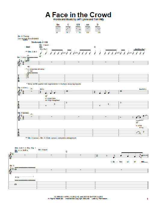 Tablature guitare A Face In The Crowd de Tom Petty - Tablature Guitare