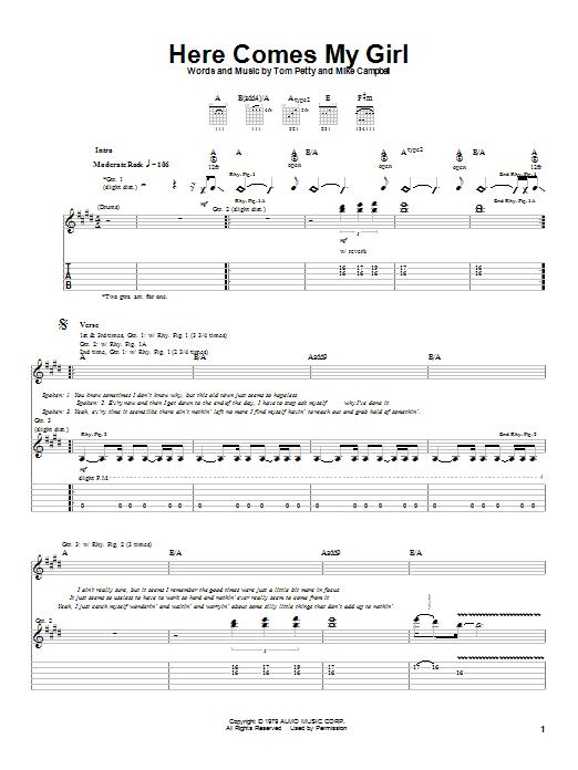Tablature guitare Here Comes My Girl de Tom Petty - Tablature Guitare