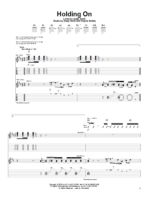Tablature guitare Holding On de Saliva - Tablature Guitare