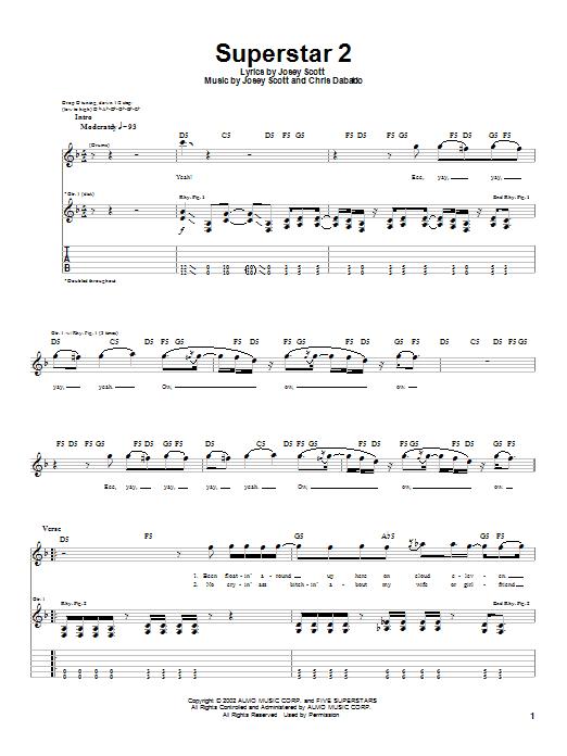 Tablature guitare Superstar 2 de Saliva - Tablature Guitare