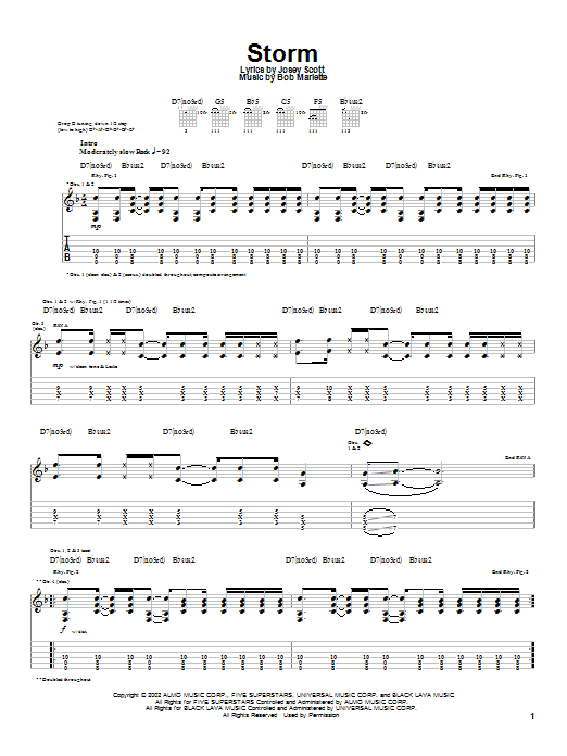 Tablature guitare Storm de Saliva - Tablature Guitare