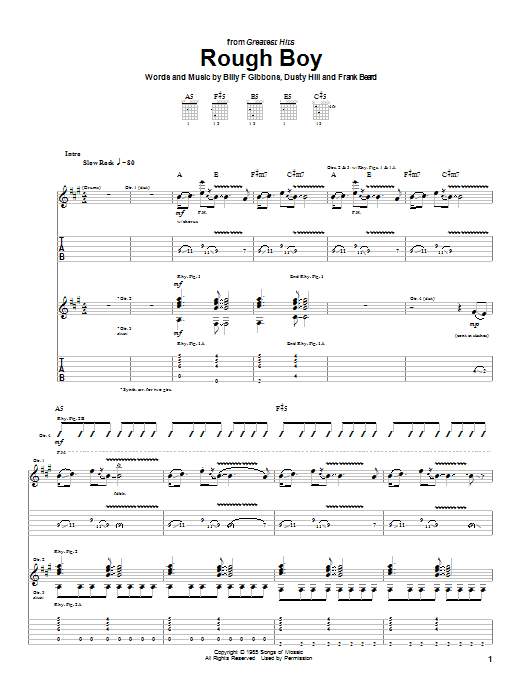 Tablature guitare Rough Boy de ZZ Top - Tablature Guitare