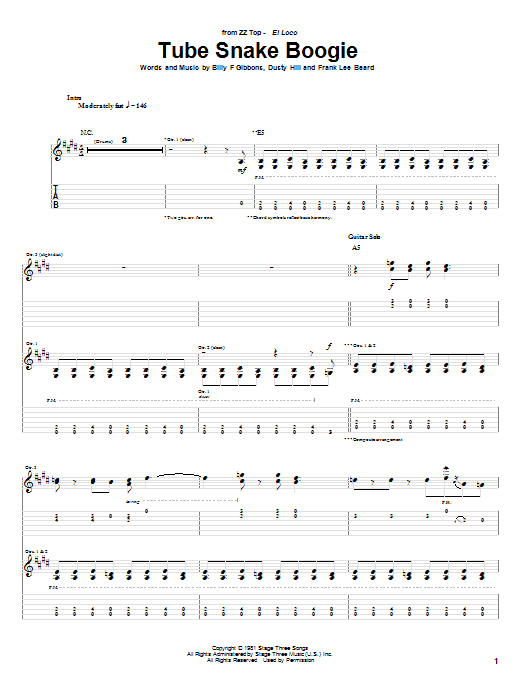 Tablature guitare Tube Snake Boogie de ZZ Top - Tablature Guitare