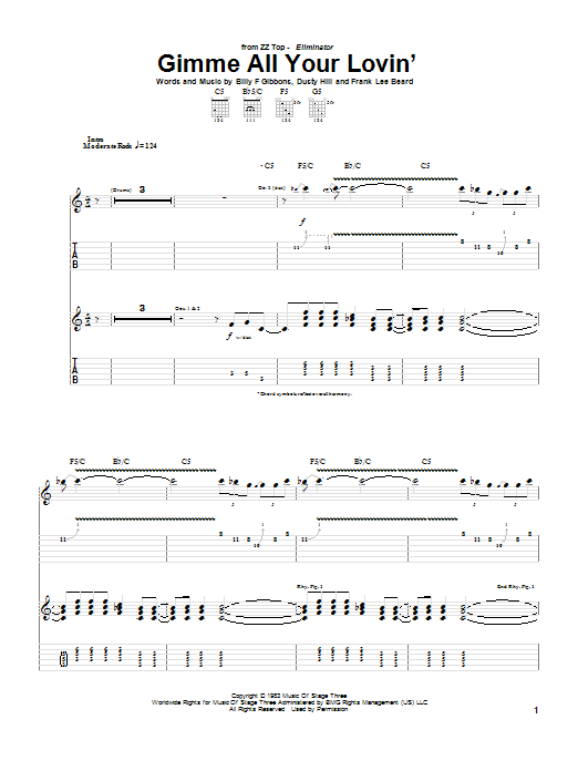 Tablature guitare Gimme All Your Lovin' de ZZ Top - Tablature Guitare