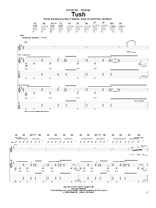 Tablature guitare Tush de ZZ Top - Tablature Guitare