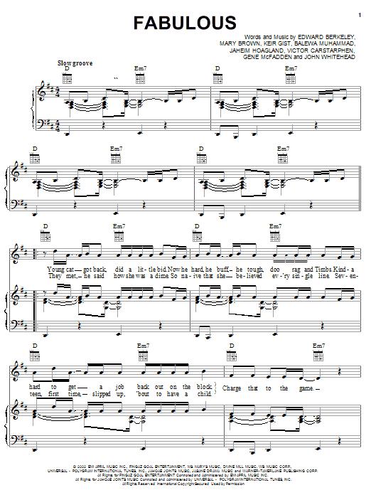 Partition piano Fabulous de Jaheim featuring Tha Rayne - Piano Voix Guitare (Mélodie Main Droite)