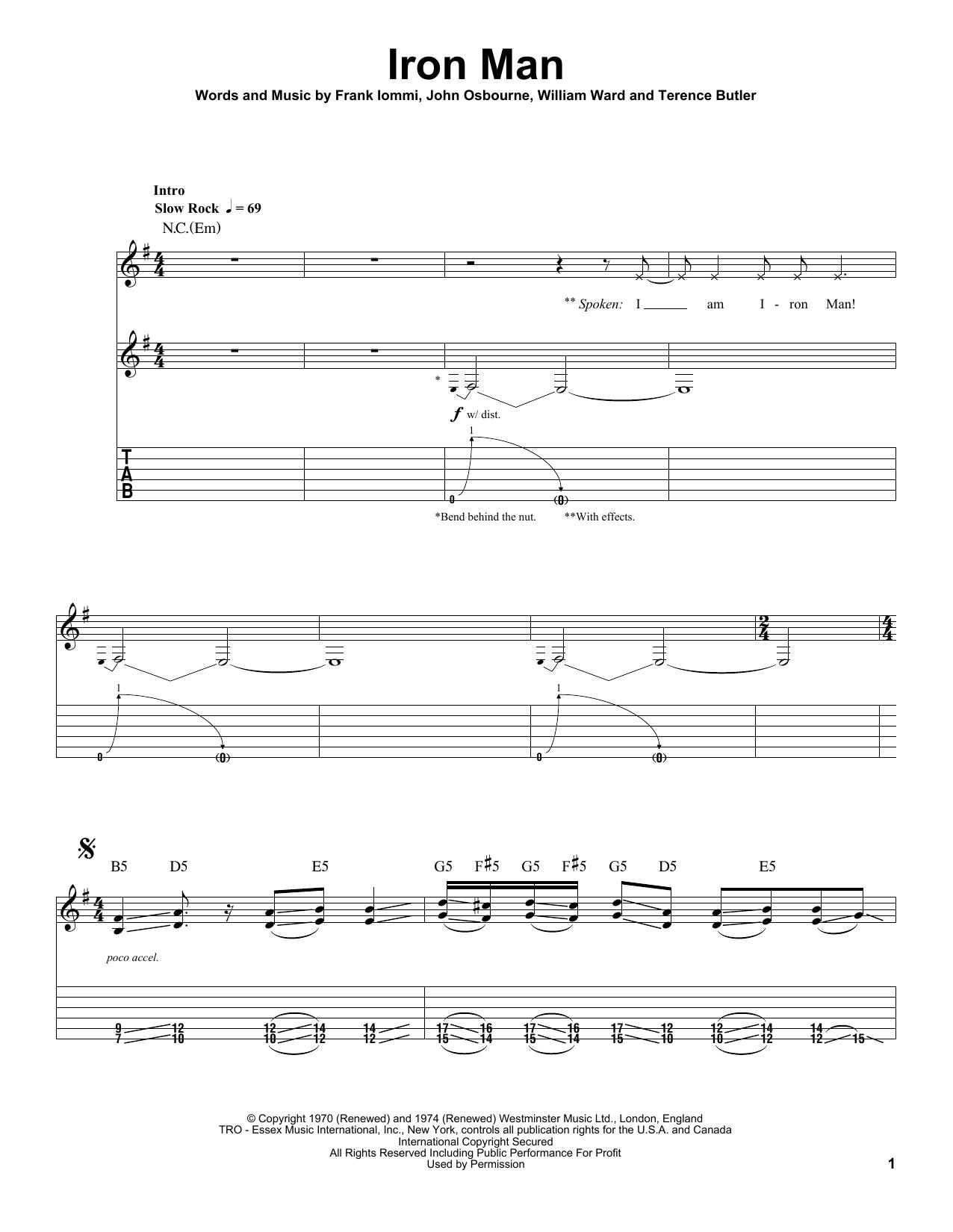 Tablature guitare Iron Man de Black Sabbath - Tablature Guitare