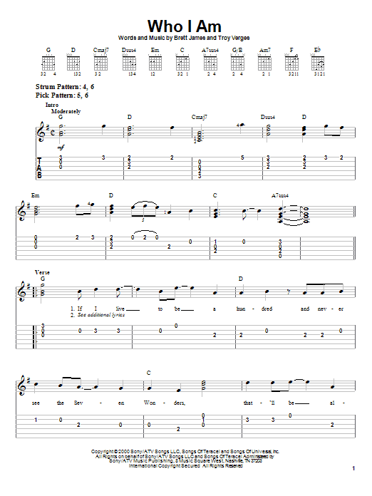 Tablature guitare Who I Am de Jessica Andrews - Tablature guitare facile