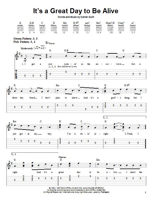 Tablature guitare It's A Great Day To Be Alive de Travis Tritt - Tablature guitare facile