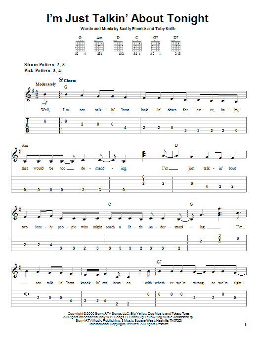 Tablature guitare I'm Just Talkin' About Tonight de Toby Keith - Tablature guitare facile