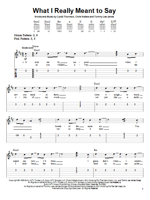 What I Really Meant To Say sheet music for guitar solo (easy tablature) by Tommy Lee James