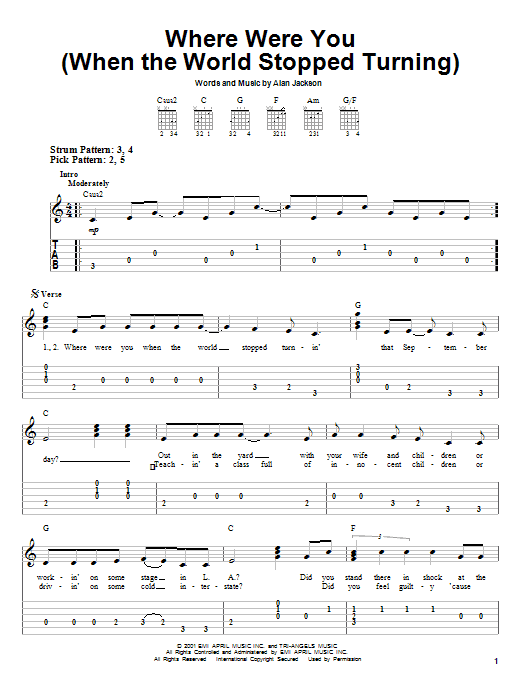 Tablature guitare Where Were You (When The World Stopped Turning) de Alan Jackson - Tablature guitare facile