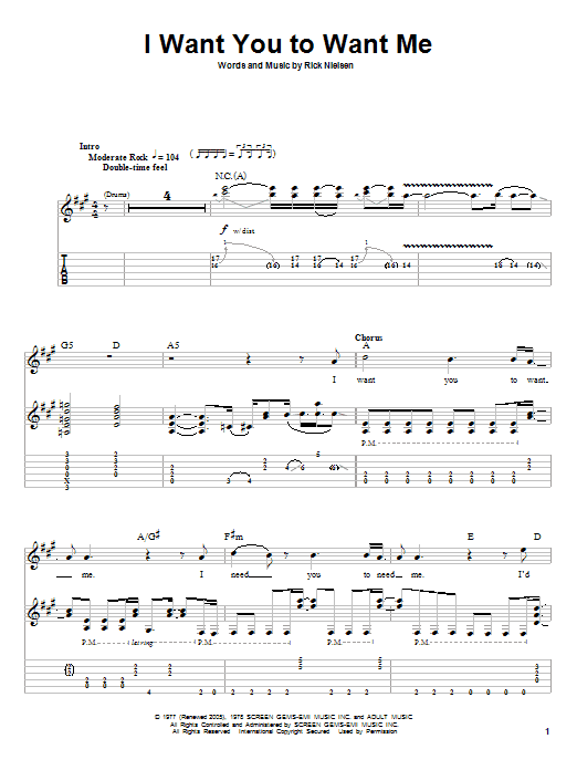 I Want You To Want Me sheet music for guitar solo (tablature, play-along) by Rick Nielsen