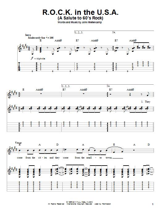 Tablature guitare R.O.C.K. In The U.S.A. (A Salute To 60's Rock) de John Cougar Mellencamp - Tablature Guitare