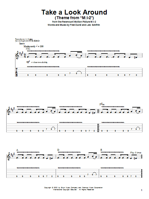 Tablature guitare Take A Look Around (theme from Mission Impossible 2) de Limp Bizkit - Tablature Guitare