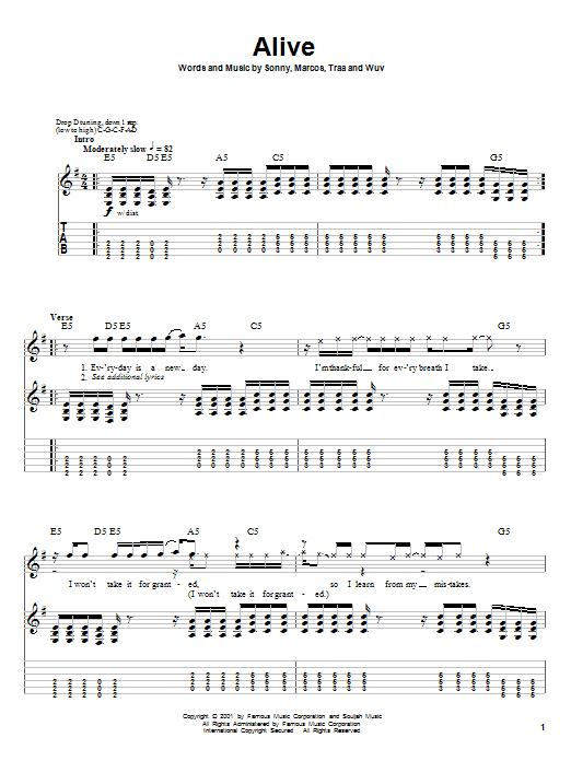 Tablature guitare Alive de P.O.D. (Payable On Death) - Tablature Guitare