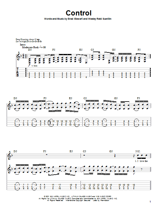 Tablature guitare Control de Puddle Of Mudd - Tablature Guitare