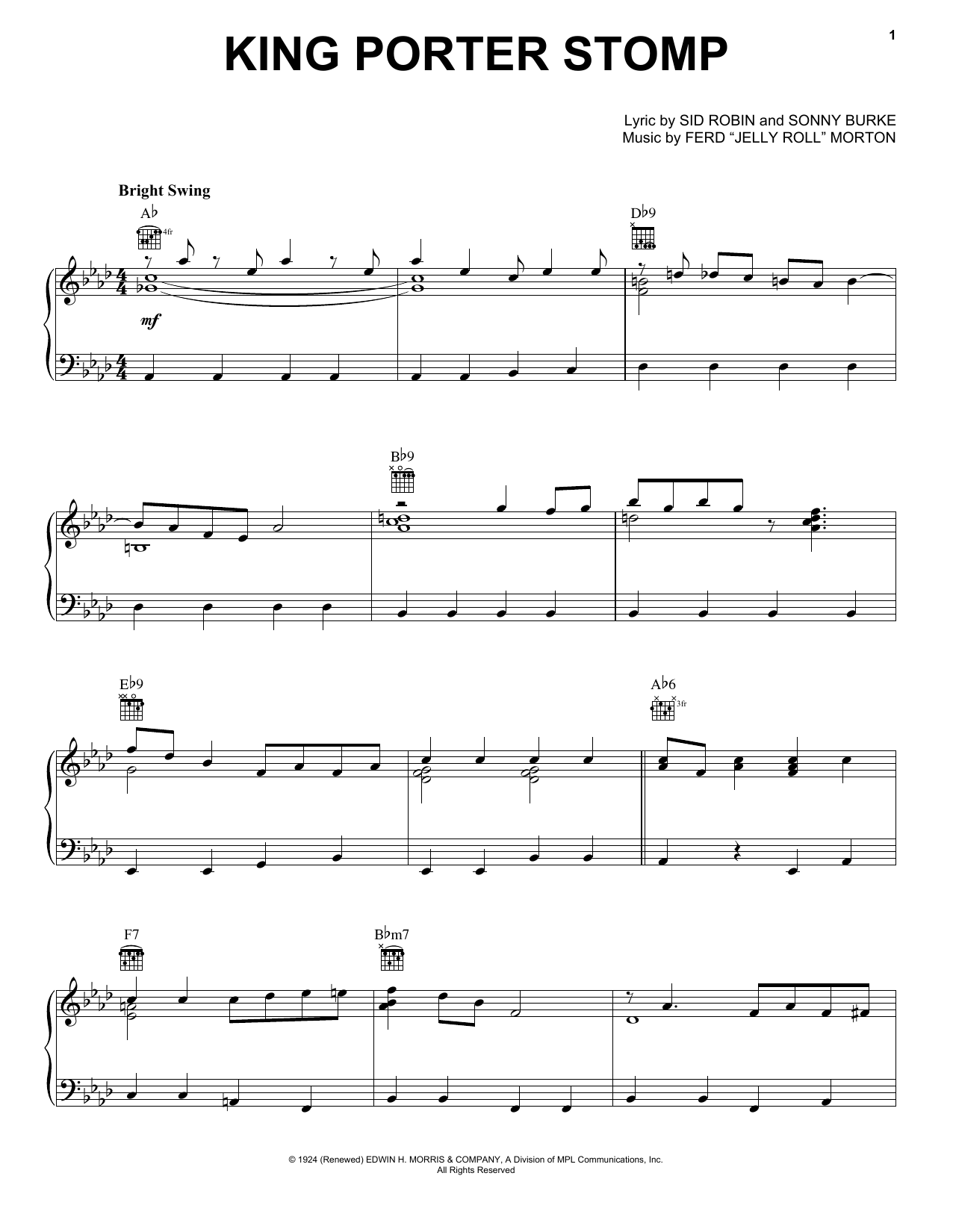 Partition piano King Porter Stomp de Jelly Roll Morton - Piano Solo