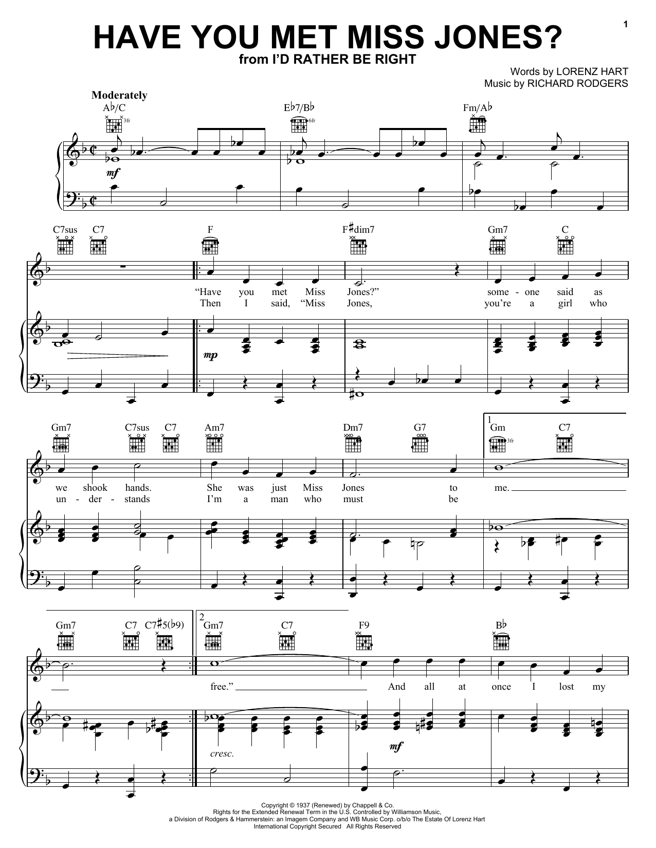 Have You Met Miss Jones? sheet music for voice, piano or guitar by Richard Rodgers