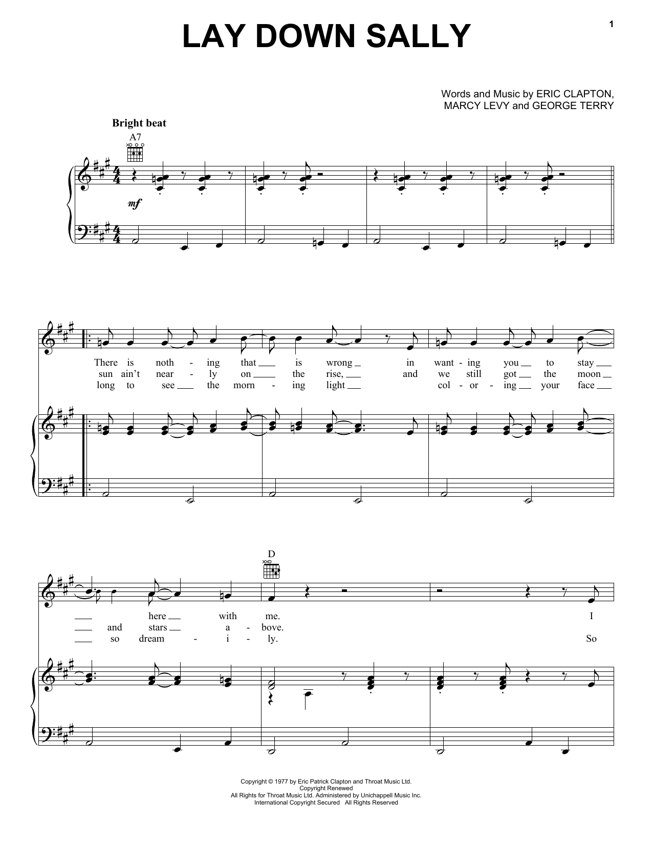 Lay Down Sally sheet music for voice, piano or guitar by Marcy Levy