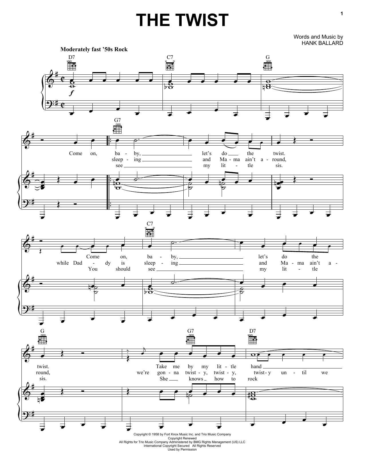 Partition piano The Twist de Chubby Checker - Piano Voix Guitare (Mélodie Main Droite)