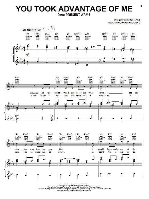 Partition piano You Took Advantage Of Me de Lorenz Hart - Piano Voix Guitare (Mélodie Main Droite)