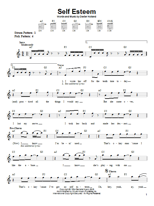 Tablature guitare Self Esteem de The Offspring - Tablature guitare facile