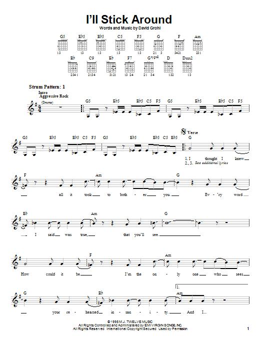 Tablature guitare I'll Stick Around de Foo Fighters - Tablature guitare facile