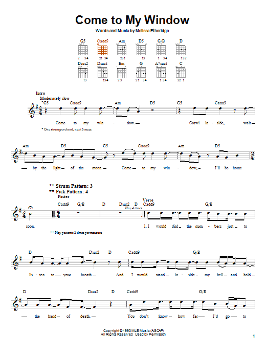 Come To My Window sheet music for guitar solo (chords) by Melissa Etheridge