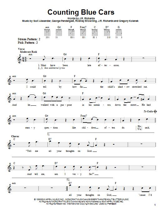 Tablature guitare Counting Blue Cars de Dishwalla - Tablature guitare facile