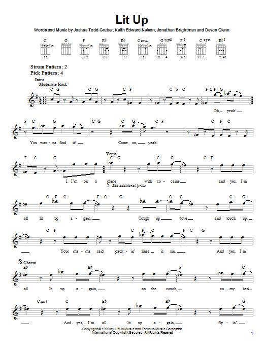 Tablature guitare Lit Up de Buckcherry - Tablature guitare facile