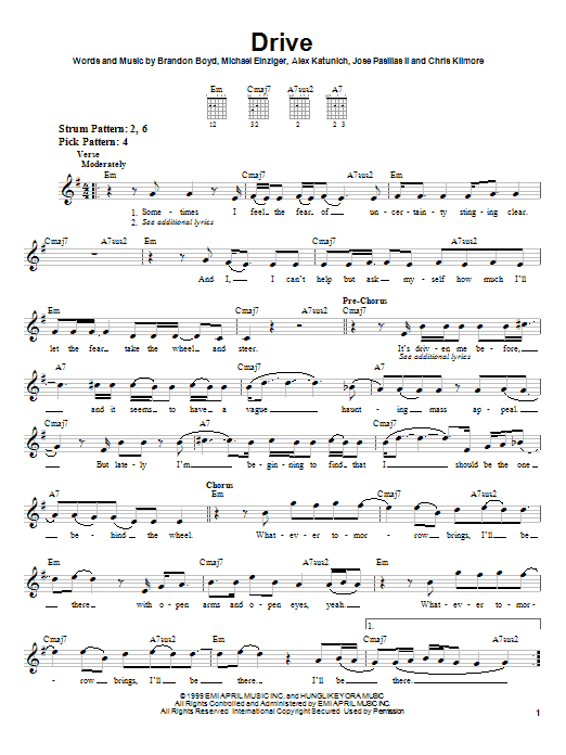Tablature guitare Drive de Incubus - Tablature guitare facile